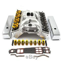 Chevy SBC 350 Angle Plug Hyd Roller Cylinder Head Top End Engine Combo Kit