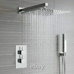 Chrome Thermostatic Shower Mixer Square Bathroom Concealed Twin Head Valve Set