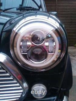 Classic Mini 7'' Silver Chrome LED Head Lights Halo Ring plug and play 1275 1.3