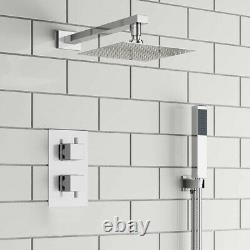 Concealed Thermostatic Shower Mixer Square Chrome Bathroom Twin Head Valve Set