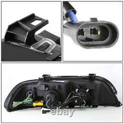 Dual Led U-halofor 96-03 Bmw E39 5-series Black Projector Headlight Head Lamps