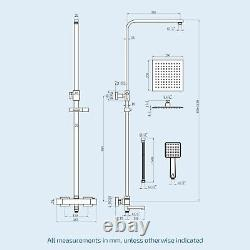 Edor 3 Way Exposed Square Thermostatic Shower Mixer Bathroom Twin Head Valve Set