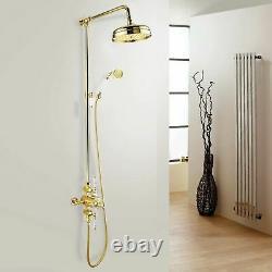 Enora Gold Traditional Bathroom Thermostatic Shower Mixer Slider Rail Dual Head