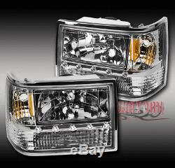 FOR 93-98 JEEP GRAND CHEROKEE LED CHROME HEAD LIGHT WithCORNER+BUMPER SIGNAL