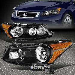 For 08-12 Honda Accord Sedan Black Housing Amber Corner Headlight Head Lamps
