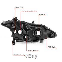 For 13-15 Nissan Altima Sedan Black/amber Corner Projector Headlight Head Lamps