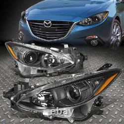For 14-17 Mazda 3 Pair Black Housing Amber Corner Projector Headlight Head Lamp