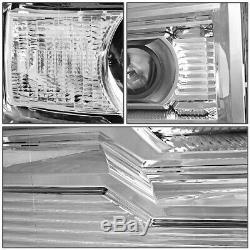 For 14-18 Gmc Sierra Chrome Housing Clear Corner Projector Headlight Head Lamps