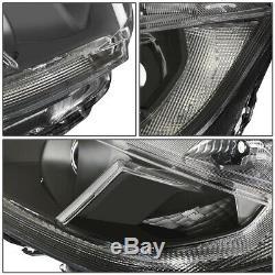 For 16-18 Honda CIVIC Pair Black Housing Led Drl Projector Headlight Head Lamps