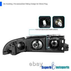 For 1994-1996 Chevy Impala Black Headlights Head Lamp with Corner Lights