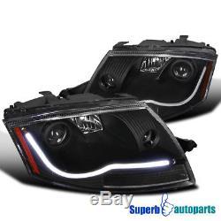For 1999-2006 Audi TT Led Light Bar Projector Headlights Head Lamps Black