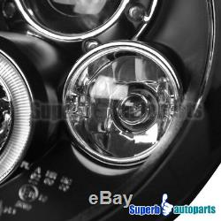 For 2002-2005 Mini Cooper LED Halo Projector Headlights Head Lamp Black