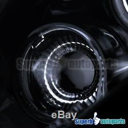 For 2003-2007 Accord Smoke LED Halo Projector Headlight Head Lamps Glossy Black