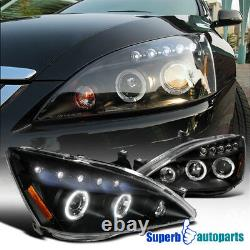 For 2003-2007 Honda Accord Dual LED Halo Projector Black Headlights Head Lamps
