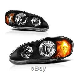 For 2003-2008 Toyota Corolla Replacement Black Headlights Focos Head Lamps LH RH