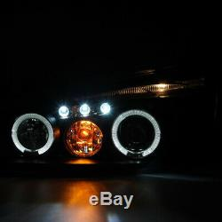 For 2004-2007 Chevy Malibu Halo Projector Headlights Head Lamps Black Left+Right