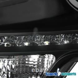 For 2009-2014 Ford F150 Black LED DRL Projector Headlights Head Lamps withBulbs