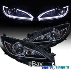 For 2010-2013 Mazda 3 Glossy Black LED Strip Projector Headlights Head Lamps