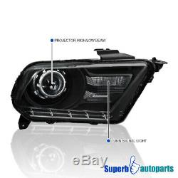 For 2010-2014 Ford Mustang Distinctive Black Projector Headlights Head Lamps