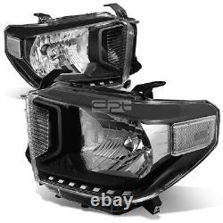 For 2014-2020 Toyota Tundra Pair Black Housing Clear Corner Headlight Head Lamp