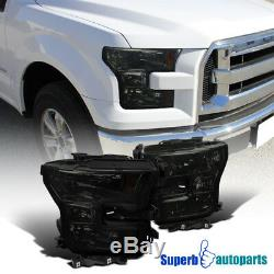 For 2015-2017 Ford F150 F-150 Headlights Head Lamps Smoke Left+Right Pair