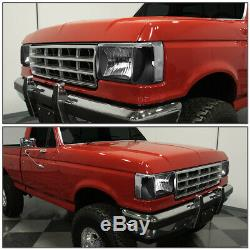 For 87-91 Ford F150 F250 Bronco Black Housing Clear Corner Headlight Head Lamps