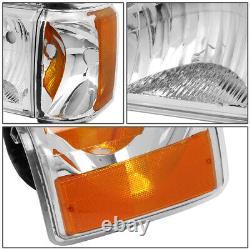For 87-91 Ford F150 F250 Bronco Chrome Housing Amber Corner Headlight Head Lamps