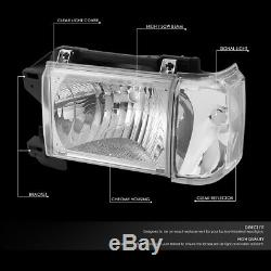 For 87-91 Ford F150 F250 Bronco Chrome Housing Clear Corner Headlight Head Lamps