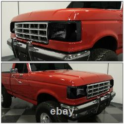 For 87-91 Ford F150 F250 Bronco Smoked Housing Clear Corner Headlight Head Lamps