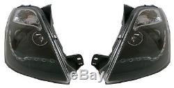 Ford Fiesta Mk6 2002-2009 Black DRL Devil Eye Head Light Lamp Pair Left & Right
