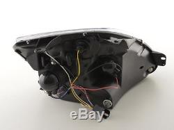Ford Fiesta Mk6/mk7 02-08 Black Angel Eye Halo Projector Head Lights Lamps Pair