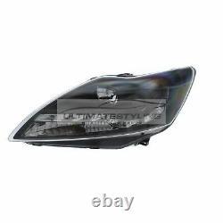 Ford Focus Mk2 2008-2011 Black DRL Devil Eye Head Light Lamp Pair Left & Right