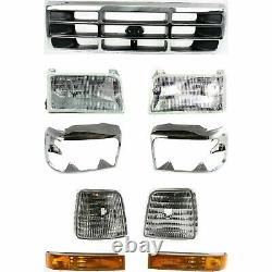 Front Chrome Grille+Headlight+Signal&Head Lamps Door For 1992-1997 Ford F-Series
