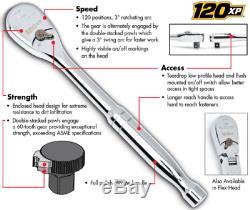 GEARWRENCH 81230P 4 Pc 1/4,3/8&1/2 Drive 120XP Flex Head Teardrop Ratchets