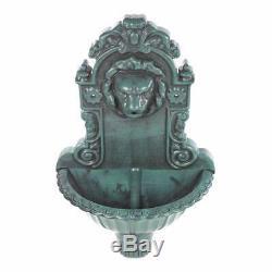 GardenKraf Antique Green Lion Head Water Feature Wall Mounted Bird Bath Fountain