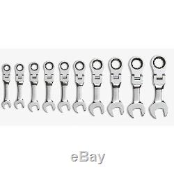 GearWrench 9550 Metric Stubby Flex Head Combination Ratcheting Wrench Set
