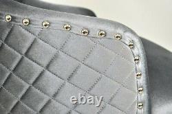 Grey Velvet Lion Head Knocker Buttoned Quilted High Back Chrome Leg Dining Chair