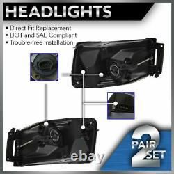 Headlights Headlamps Chrome Bezel Pair Set of 2 for 06-08 Dodge Ram Pickup Truck