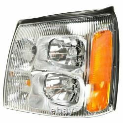 Headlights Headlamps LH & RH Pair Set for 02 Cadillac Escalade Pickup Truck EXT