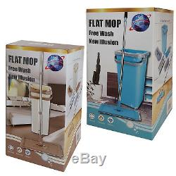 Home Flat Mop Bucket Wash And Dry All Floor Cleaning System With 2 Mop Head Pads