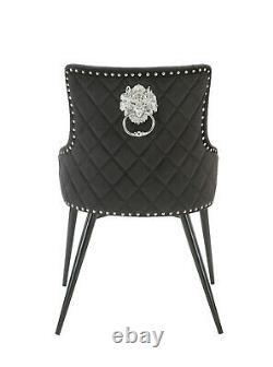 KENSINGTON BLACK / GREY Velvet Button Dining Chair, Lion Head Knocker