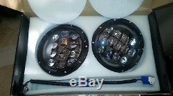 Landrover DEFENDER Pair 7'' LEGAL 105W Round LED Head lights DRL+TURN
