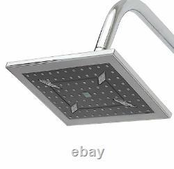 Large Chrome Dual 2 Mixer Shower Heads Rail Hose Riser Kit Luxury Bathroom Set