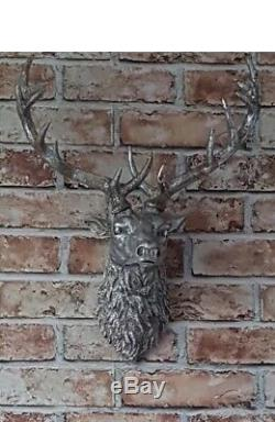 Large silver stag, wall art, animal head, stag head, large wall mounted deer head