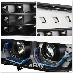 Led 3d Crystal U-halofor 06-08 Bmw 3-series E90 4dr Headlight Head Lamp Black