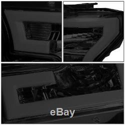 Led Drl Barfor 15-17 Ford F150 Smoked Housing Amber Corner Headlight Head Lamp
