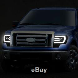 Led Drlfor 09-14 Ford F150 Black/clear Corner Projector Headlight Head Lamps
