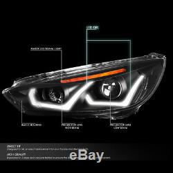 Led Drlfor 15-18 Ford Focus Black/amber Corner Projector Headlight Head Lamps