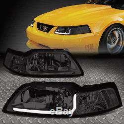 Led Drlfor 99-04 Ford Mustang Smoked Housing Clear Corner Headlight Head Lamps