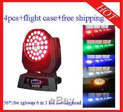 Led Moving Head 3618W Zoom RGBWA+UV Home/DJ Light Flight Case 4pcs Free Shippin